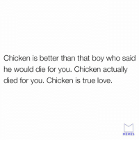 Dank, Love, and Memes: Chicken is better than that boy who said  he would die for you. Chicken actually  died for you. Chicken is true love.  MEMES Chicken will save your soul.