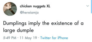 Iphone, Twitter, and Chicken: chicken nuggets XL  @hereiamja  Dumplings imply the existence of a  large dumple  5:49 PM 11 May 19 Twitter for iPhone Idk what it is but I want one