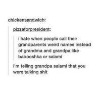 Grandma, Memes, and Shit: chickensandwich:  pizzaforpresident:  i hate when people call their  grandparents weird names instead  of grandma and grandpa like  babooshka or salami  i'm telling grandpa salami that you  were talking shit grandpa salami