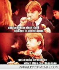 """Memes, Chicken, and Http: chickenun the right hand  chicken in the left hand  gotta make my mind up  which stick can.i taaaaake  MUGGLENET MEMES.COM <p>yum..yum..gobble&hellip;yum&hellip;ron..eat <a href=""""http://ift.tt/1fLoMwY"""">http://ift.tt/1fLoMwY</a></p>"""