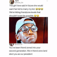 Friend zone to the 2nd power😳: @Chido Zie  The girl I love said in future she would  want her kid to marry my kid. G)  We're hitting friendzone levels that  shouldn't even be possible.  @ndoarum  You've been friend zoned into your  second generation. We in friend zone land  elect you as our president Friend zone to the 2nd power😳
