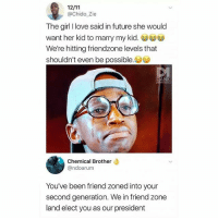 Damn 😭: @Chido_Zie  The girl I love said in future she would  want her kid to marry my kid.  We're hitting friendzone levels that  shouldn't even be possible.  Chemical Brother  @ndoarum  You've been friend zoned into your  second generation. We in friend zone  land elect you as our president Damn 😭
