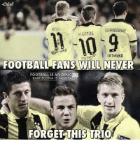 Barcelona, Drugs, and Soccer: Chief  REUS  LEWANDOWS  ORTMUND  FOOTBALL FANSWILLNEVER  FOOTBALL IS MY DRUG  BARCELONA IS MY DEA  FORGET THIS TRIO Never