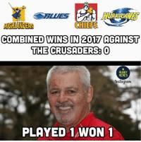 Anaconda, Memes, and Chiefs: CHIEFS  IGHLANDERS  COMBINED WINS IN 2017 AGAINST  THE CRUSADERS O  RUGBY  MEMES  Instaguam  PLAYED WON 1 100% 👌🏼🦁 rugby LionsNZ2017 crusaders