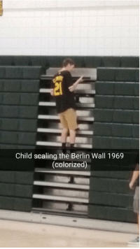 https://t.co/Xi6zdxn9UR: Child scaling the Berlin Wall 1969  (colorized) https://t.co/Xi6zdxn9UR