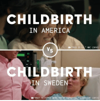 "America, Memes, and Sweden: CHILDBIRTH  IN AMERICA  ""THIS  IS US,""  NBC  (2016)  89  60  CHILDBIRTH  IN SWEDEN  B""WHAT TO EXPECT WHEN YOU'RE EXPECTING,"" LIONSGATE (2012) Having a baby in America should be as safe as it is in Sweden."