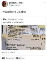 <p>Is this where non-Americans act shocked? (via /r/BlackPeopleTwitter)</p>: childish sadbino  @datassque  i would have just died  khev @indianschoolboi  got bit by a rattlesnake  SUMMARY OF PATIENT SERVICES  PHARMACY  LABORATORY SERVICES  INTERMEDIA  INTENSIVE CARE ROOM  THERSENCY CARE SERVICES $5,564.00  EMERGE  RADIOLOGY  SPECIAL SERVICES  contact our  status of y  $83,341.25 FREO  $22,433.00  EDATE CARE ROOM $212250Q.Can  a. Car  $947.00 A. Ye  $1,423.00  $462.00  Q. W  TOTAL CHARGES  $153,161.25 A. P  ■ ACCOUNT SUMMARY  07/04/15 to 07/09/15  EMERGENCY-IP  Service Date  vpe of Service  8/6/17, 2:49 PM  604 Retweets 1,485 Likes <p>Is this where non-Americans act shocked? (via /r/BlackPeopleTwitter)</p>