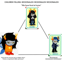 """Children, Food, and McDonalds: CHILDREN YELLING: MCDONALDS! MCDONALDS! MCDONALDS!  """"We have food at home""""  ARDATA  ELWURD  *Pulls into the drive through as children cheer*  Orders a single black coffee and leaveS  """"MCDONALDS!  MCDONALDS! MCDONALDS!"""""""