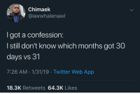 Blackpeopletwitter, Twitter, and Got: Chimaek  @awwhalenaw  I got a confession:  I still don't know which months got 30  days vs 31  7:26 AM-1/31/19 Twitter Web App  18.3K Retweets 64.3K Likes Guilty (via /r/BlackPeopleTwitter)