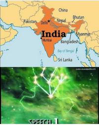 Memes, China, and India: China  Bhutan  Pakistan Delhi  Nepal  India u \Myanmar  Mumbai Bangladesh  Bay of Bengal  Sri Lanka  @mr.meeseeks.v1  SPEFCH 2 in 1