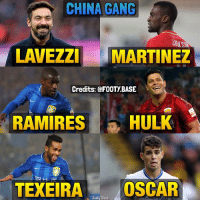 "Memes, Oscars, and China: CHINA GANG  LAVEZZI MARTINEZ  Credits: @FOOTy BASE  RAMIRES  HULK  TEXEIRA Tooty Base  OSCAR The ""China Gang"" consisting of players who chose money over passion 💸 Who's the biggest money grabber? 👇 (INFO: No, Oscar didn't retire 😂 his move to China is reported to be 90% complete) Double Tap and follow @footy.base more! 🔥"