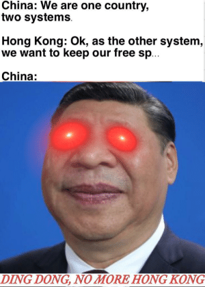 But Taiwan has nothing to fear: China: We are one country,  two systems  Hong Kong: Ok, as the other system,  we want to keep our free sp...  China:  DING DONG, NO MORE HONG KONG But Taiwan has nothing to fear