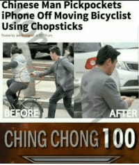 Anaconda, Iphone, and Chinese: Chinese Man Pickpockets  iPhone Off Moving Bicyclist  Using Chopsticks  Posted by Joe Rossignol ac 1000 am  FORE  AFTER  CHING CHONG 100 <h2>El ladrón de los palillos</h2><div><p>Sutil y tradicional<br/></p></div>