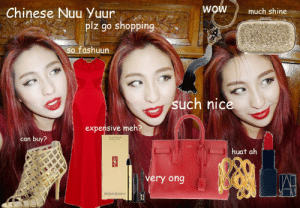 Chinese New Year Style, Shopping, & Survival Guide | Posh, Broke ...: Chinese Nuu z go shoping  WOW much shine  plz go shopping  o fashuun  such nice  expensive meh?  can buy?  huat ah  very ong Chinese New Year Style, Shopping, & Survival Guide | Posh, Broke ...