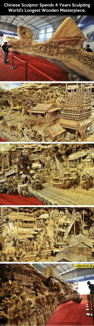 Tumblr, Blog, and Chinese: Chinese Sculptor Spends 4 Years Sculpting  World's Longest Wooden Masterpiece.  TE  VIA THEMETAPICTURE.COM srsfunny:Wooden Masterpiece