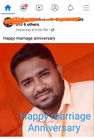 But his face tells a different story: chinwit  ant  and 6 others.  Yesterday at 8:56 PM • O  Happy marriage anniversary  Happy marriage  Anniversary But his face tells a different story