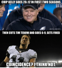 CHIP KELLY GOES 20-12IN FIRST TWO SEASONS  @NFL MEMES  THEN CUTS TIM TEBOW AND GOES 6-9, GETS FIRED  COINCIDENCE? ITHINK NOT A mistake of biblical proportions..