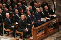Former presidents, vice presidents, first ladies, President Donald Trump, and first lady Melania Trump attend the state funeral for former President George H.W. Bush at the National Cathedral.: Chip Somodevilla/Getty Images Former presidents, vice presidents, first ladies, President Donald Trump, and first lady Melania Trump attend the state funeral for former President George H.W. Bush at the National Cathedral.