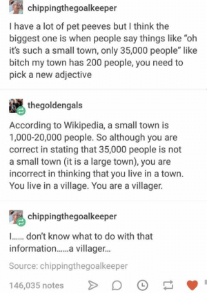 """Well now we know, and knowing is half the battle: chippingthegoalkeeper  I have a lot of pet peeves but I think the  biggest one is when people say things like """"oh  it's such a small town, only 35,000 people"""" like  bitch my town has 200 people, you need to  pick a new adjective  thegoldengals  According to Wikipedia, a small town is  1,000-20,000 people. So although you are  correct in stating that 35,000 people is not  a small town (it is a large town), you are  incorrect in thinking that you live in a town.  You live in a village. You are a villager.  chippingthegoalkeeper  ..don't know what to do with that  informatio.... villager...  Source: chippingthegoalkeeper  146,035 notes  L Well now we know, and knowing is half the battle"""