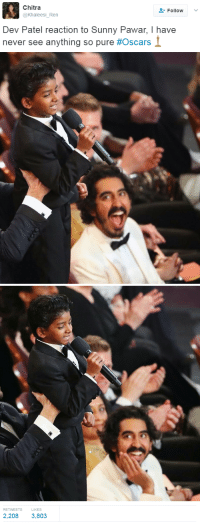 "Oscars, Tumblr, and Blog: Chitra  @Khaleesi_Ren  Follow  Dev Patel reaction to Sunny Pawar, I have  never see anything so pure #Oscars   RETWEETS  LIKES  2,208 3,803 <p><a href=""http://blackness-by-your-side.tumblr.com/post/157769758637/lovely"" class=""tumblr_blog"">blackness-by-your-side</a>:</p>  <blockquote><p>lovely</p></blockquote>"