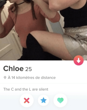 5 stars: Chloe 25  O À 14 kilomètres de distance  The C and the L are silent 5 stars