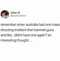 This is logic put into action: chloe  @contrachloe  remember when australia had one mass  shooting incident then banned guns  and like...didnt have one again? an  interesting thought.. This is logic put into action