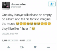 "Be Like, Kanye, and Music: chocolate bar  @percxcet  One day, Kanye will release an empty  cd album and tell his fans to imagine  the music  they'll be like ""I hear it""  9/22/15, 8:59 AM  5,379 RETWEETS 4,862 LIKES Oh hell nah 🤣 https://t.co/vZaEXyjKwE"