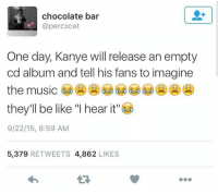 "Releasee: chocolate bar  @percxcet  One day, Kanye will release an empty  cd album and tell his fans to imagine  the music  they'll be like ""I hear it""  9/22/15, 8:59 AM  5,379 RETWEETS 4,862 LIKES"