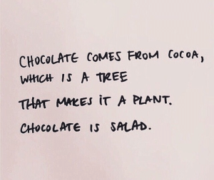 cocoa: CHOCOLATE COMES FRoM CocoA,  WHCHt IS A TREE  THAT MMEEs iT A PLANT  CHHOCOLATE IS SALAD