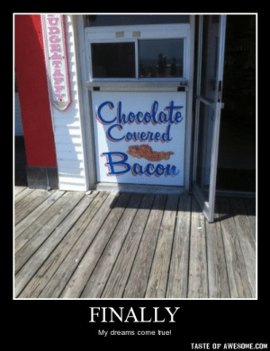 Finallyhttp://omg-humor.tumblr.com: Chocolate  Covered  Bacon  FINALLY  My dreams come true!  TASTE OF AWESOME.COM  PAGNAEAPKT Finallyhttp://omg-humor.tumblr.com