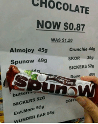 You had one job: CHOCOLATE  NOW $0.87  WAS $1.20  Almojoy 45g  Crunchie 44g  SKOR 39g  SICKERS 52g  Dove 40g  Spunow 49g  NvO  butterm  NICKERS 52G  Eat.More 52g  WUNDER BAR 58g  COFF You had one job