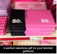"""Memes, Chocolate, and Http: CHOCOLATE  On n gir's real bent frjend)  50  hers  his  A perfect valentines gift for your feminist  girlfriend <p>the perfect gift via /r/memes <a href=""""http://ift.tt/2EAzmKk"""">http://ift.tt/2EAzmKk</a></p>"""