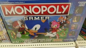"""Did they have to use the word """"gamer""""?: CHOOS  YOUR  HERO  Fast-Dealing Property Trading Game  MONOPOLY  SONIC  GAMER  TAILS  TIN  ONG  AMY  1OLO TABLE TENNIS GAME  KNUCKLES  Hasbro  Gammg  BATTLE FOA THE SONIC STan  HIGHEST SCOR E OEHOO  THE HEDGEH OG  Hasbro  Graiming  AGES  8+  2-4  182 MONOP JR  MONOPOLY JUNIOR  BRAND Did they have to use the word """"gamer""""?"""