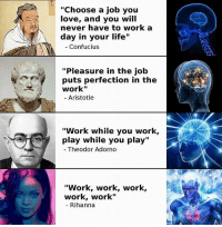 """Important: """"Choose a job you  love, and you will  never have to work a  day in your life  Confucius  """"Pleasure in the job  puts perfection in the  work""""  Aristotle  """"Work while you work,  play while you play  Theodor Adorno  """"Work, work, work,  work, work""""  Rihanna Important"""