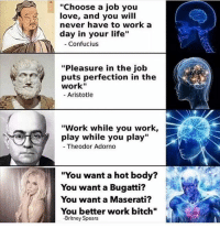"""truth: """"Choose a job you  love, and you will  never have to work a  day in your life""""  - Confucius  """"Pleasure in the job  puts perfection in the  work""""  - Aristotle  """"Work while you work,  play while you play""""  Theodor Adorno  """"You want a hot body?  You want a Bugatti?  You want a Maserati?  You better work bitch""""  -Britney Spears truth"""