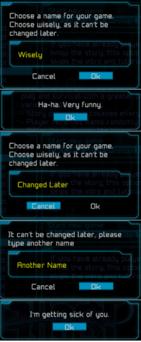 Dad, Dank, and Funny: Choose a name for your game.  Choose wisely, as it can't be  changed later.  Wisely  Cancel  Ha-ha. Very funny  Choose a name for your game.  Choose wisely, as it cant be  changed later  the sto  Changed Later  Cancel  Ok  It can't be changed later, please  type another name  in  Another Name  Cancel  I'm getting sick of you Hi getting sick of you, I'm dad.
