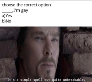 srsfunny:  Oh god oh no: choose the correct option  'I'm gay  a)Yes  b)No  It's a simple spell but quite unbreakable. srsfunny:  Oh god oh no
