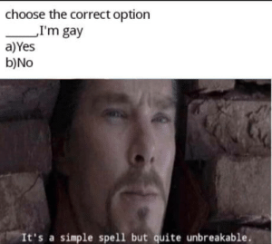 "Oh god oh no: choose the correct option  ""I'm gay  a)Yes  b)No  It's a simple spell but quite unbreakable. Oh god oh no"