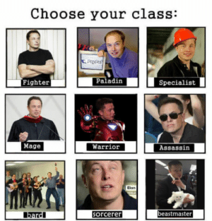 awesomacious:  Your daily dose of Elon: Choose your class:  Fighter  Paladin  Specialist  Mage  Warrior  Assassin  Elon  beastmaster  bardl  orcerer awesomacious:  Your daily dose of Elon
