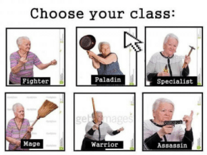 Paladin, Warrior, and Class: Choose your class:  Fighter  Paladin  Specialist  Mage  Warrior  Assassin Which class will you choose?