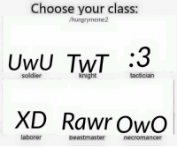 What's this?: Choose your class:  /hungry meme2  Uwu TNT :3  soldier  knight  tactician  XD Rawr OwO  laborer  beastmaster  necromancer What's this?