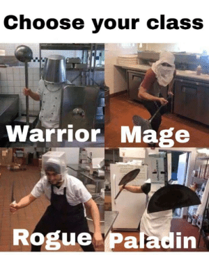Memes, Wow, and Rogue: Choose your class  Te  Warrior Mage  Rogue Paladin New WoW expansion out via /r/memes https://ift.tt/2zJzzHt