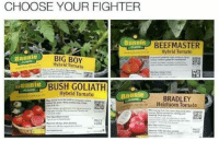 Big Boy, Boy, and Bush: CHOOSE YOUR FIGHTER  Bonnie  BEEFMASTER  Hybrid Tomato  BIG BOY  Hybrid Tomato  Bannis  BUSH GOLIATH  Hybrid Tomato  Bonnie  BRADLEY  Heirloom Tomato  HERE