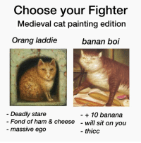 Banana, Medieval, and Boi: Choose your Fighter  Medieval cat painting edition  Orang laddie  banan boi  Deadly stare  Fond of ham & cheese  massive ego  + 10 banana  - will sit on you  thicc This is a hard choice https://t.co/3V3kmxr3dv