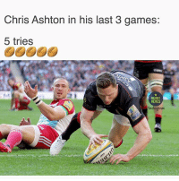Memes, Mike Brown, and Games: Chris Ashton in his last 3 games:  5 tries  RUGBY  MEMES  Anstaguant Even Mike Brown can't believe it 🔥🔥🔥 rugby saracens chrisashton