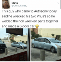 THIS IS AMAZING: Chris  ChrisChavez  This guy who came to Autozone today  said he wrecked his two Prius's so he  welded the non wrecked parts together  and made a  6 door car THIS IS AMAZING