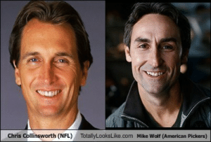 Nfl, American, and Wolf: Chris Collinsworth (NFL)  TotallyLooksLike.com Mike Wolf (American Pickers) Chris Collinsworth (NFL) Totally Looks Like Mike Wolf (American ...