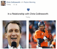 Nfl, Peyton Manning, and Relationships: Chris Collinsworth with Peyton Manning  Today  In a Relationship with Chris Collinsworth  Today How sweet!
