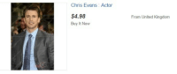 """Chris Evans, Target, and Tumblr: Chris Evans: Actor  $4.98  Buy It Now  From United Kingdom  COPY <p><a class=""""tumblr_blog"""" href=""""http://lokisspy.tumblr.com/post/97187863128/what-a-deal"""" target=""""_blank"""">lokisspy</a>:</p> <blockquote> <p>what a deal</p> </blockquote>"""