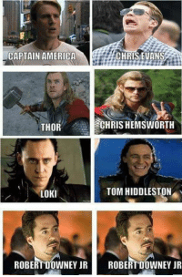Loki Meme: CHRIS EVANS  CAPTAIN AMERICA  THOR  CHRISHEMSWORTH  TOM HIDDLESTON  LOKI  ROBERT DOWNEY JR  ROBERT DOWNEY JR